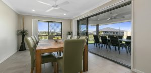 dining room blue water homes display home central springs