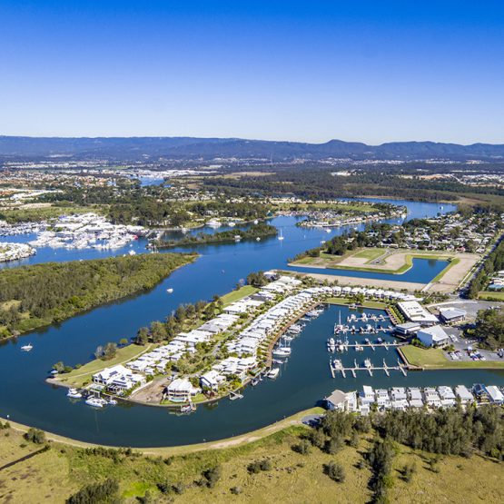 coomera quays waterfront real estate qm properties aerial view river