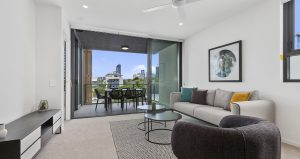 Corde Apartments East brisbane living room with view